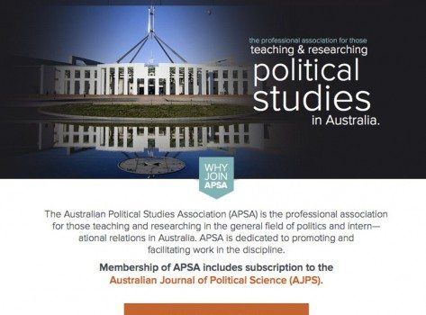 The Australian Political Studies Association (APSA) website screenshot